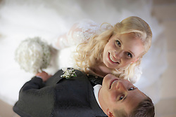 Directly above of a bride and groom smiling, Ammersee, Upper Bavaria, Bavaria, Germany