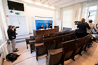 23 MAR 2020, BERLIN/GERMANY:<br /> Prof. Dr. Lothar H. Wieler, Praesident Robert-Koch-Institut, waehrend einem Pressebriefing zur aktuelle Entwicklungen des Corona-Virus, COVID-19, aufgrund der Vorgaben zur Sozialen Distanzierung sind nur zwei Kamerateams und zwei Fotografen zugelassen, Fragen werden per E-Mail eingereicht, Hoersaal, Robert-Koch-institut<br /> IMAGE: 20200323-01-009<br /> KEYWORDS: Pandemie
