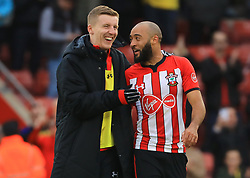 Southampton's Matt Targett (left) and Nathan Redmond celebrate after the final whistle