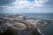 An overview of the Eastern Dock of the Port of Dover where the cross channel port is situated with ferries departing to go to Calais in France, on 26th August 2020 in Dover, Kent, United Kingdom.  Dover is the nearest port to France with just 34 kilometres 21 miles between them. It is one of the busiest ports in the world. As well as freight container ships it is also the main port for P&O and DFDS Seaways ferries.