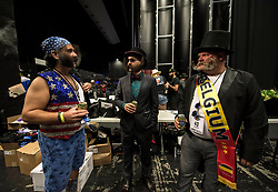 Sept.02, 2017 - Austin, Texas, U.S. -  Contestants backstage at the 2017 World Beard and Moustache Championships.  The championships, hosted this year by the Austin Facial Hair Club,  attracted over 700 competitors in 27 categories of facial hair growth and styling.(Credit Image: © Brian Cahn via ZUMA Wire)