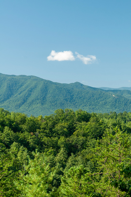 The sharp peak of Cades Cove Mountain stands on the right at the Cades Cove Mountain Overlook on the Foothills Parkway in Great Smoky Mountains National Park in Wears Valley, Tennessee on Wednesday, August 12, 2020. Copyright 2020 Jason Barnette