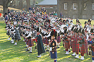 West Point, New York - Pipe and drum bands gather for the mass performance at the 32nd annual West Point Military Tattoo at Trophy Point at the United States Military Academy on April 13, 2014.
