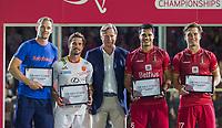 ANTWERPEN - topscorers  Mirco Pruijser, Pau Quemada (Esp) , Alexander Hendrickx (Belgie) en Tom Boon (Belgie)   , na de finale mannen  Belgie-Spanje (5-0),  bij het Europees kampioenschap hockey. COPYRIGHT KOEN SUYK