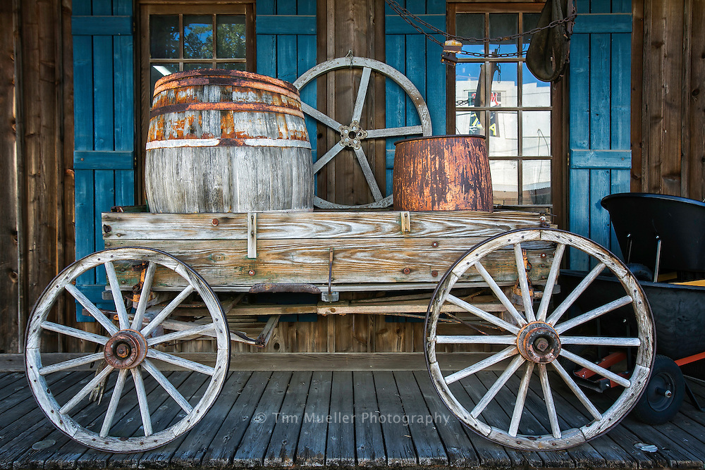 A wagon is on display in front of the H.J. Smith & Sons General Store in Covington, Louisiana.