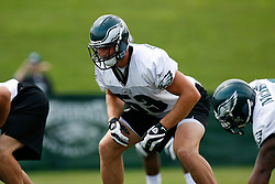 Bethlehem, PA - August 2nd 2008 - Rookie Linebacker Andy Studebaker prepares for a play to start during the Philadelphia Eagles Training Camp at Lehigh University (Photo by Brian Garfinkel)
