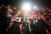 De film Black Butterflies is de grote winnaar van de Gouden Kalveren. Op de foto vlnr Richard Claus,  hoofdrolspeelster Carice van Houten, Frans van Destel, Ary Voorsmit en Arnold Heslenfeld. Op de laatste avond van het Nederlands Film Festival NFF worden de Gouden Kalveren uitgereikt, Nederlands hoogste filmprijs.<br /> <br /> Winners of the movie Black Butterflies, with left Carice van Houten. The Gouden Kalf (Golden Calf), the award for the best movie, is presented at the gala on the last evening of the Nederlands Film Festival in Utrecht. Carice van Houten won her fifth Gouden Kalf, a record.