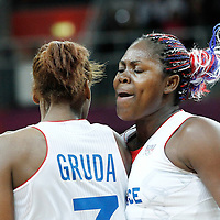 07 August 2012: France Isabelle Yacoubou celebrates with Sandrine Gruda during 71-68 Team France victory over Team Czech Republic, during the women's basketball quarter-finals, at the Basketball Arena, in London, Great Britain.