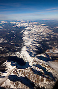 The high peaks of the Indian Peaks Wilderness area stretch towards Longs Peak and the mountains of Rocky Mountain National Park, Colorado.