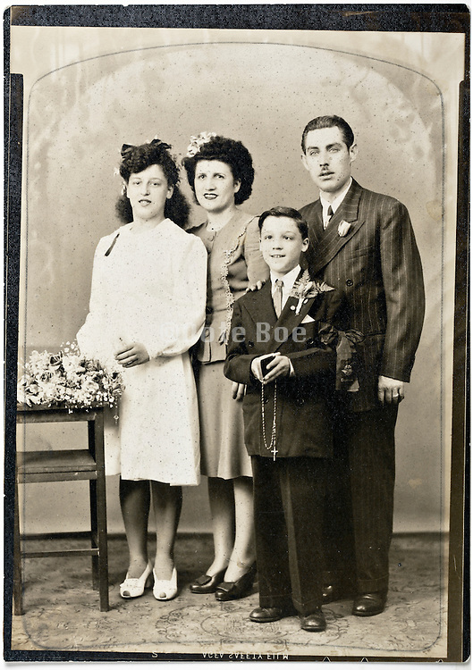vintage studio family portrait celebration holy communion of boy