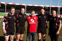 Former England legend Jason Leonard (centre in red Just Retirement shirt)<br /> From left current Harlequins players Joe Gray, Mark Lambert, Will Collier, Rob Buchanan