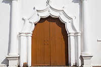 Tropical  Pastel Doorway in Cochin, Kerala - Colonial Architecture Cochin is made up of an interesting blend of Portuguese, Dutch, British with elements of Indian buildings.