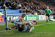 Alex Cuthbert of Cardiff Blues dives over to score his 2nd  try.  Heineken cup, Cardiff Blues v Racing Metro at the Cardiff city stadium in Cardiff, South Wales  on Sunday 22nd  Jan 2012. pic by Andrew Orchard, Andrew Orchard sports photography,