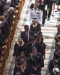 Roberta McCain, 106, center, is pushed in her wheelchair by grandson John S. McCain, IV, top, as she participates in the recessional ending the memorial service for the late United States Senator John S. McCain, III (Republican of Arizona) in the Washington National Cathedral in Washington, DC, USA on Saturday, September 1, 2018. Photo by Ron Sachs/CNP/ABACAPRESS.COM