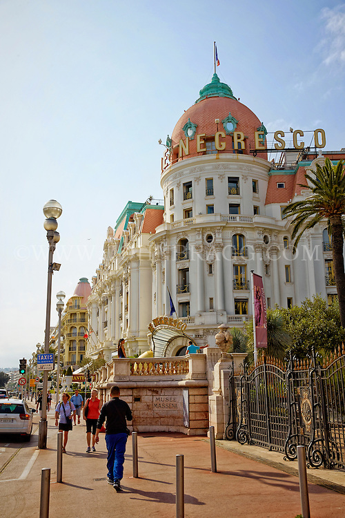 View of the historic and famous Hotel Negresco taken from the Promenade des Anglais, Nice, France.