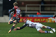Gloucester Rugbys Ollie Thorley  Bristol Bears Siale Piutau  during the Gallagher Premiership Rugby match between Gloucester Rugby and Bristol Rugby at the Kingsholm Stadium, Gloucester, United Kingdom on 12 February 2021.