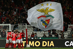 November 26, 2017 - Lisbon, Lisbon, Portugal - Benficas defender Luisao from Brazil celebrating with is team mate after scoring a goal during the Premier League 2017/18 match between SL Benfica and FC Vitoria Setubal, at Luz Stadium in Lisbon on November 26, 2017. (Credit Image: © Dpi/NurPhoto via ZUMA Press)