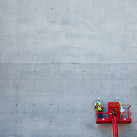 Finishing a concrete wall, Central Saint Martins, King's Cross