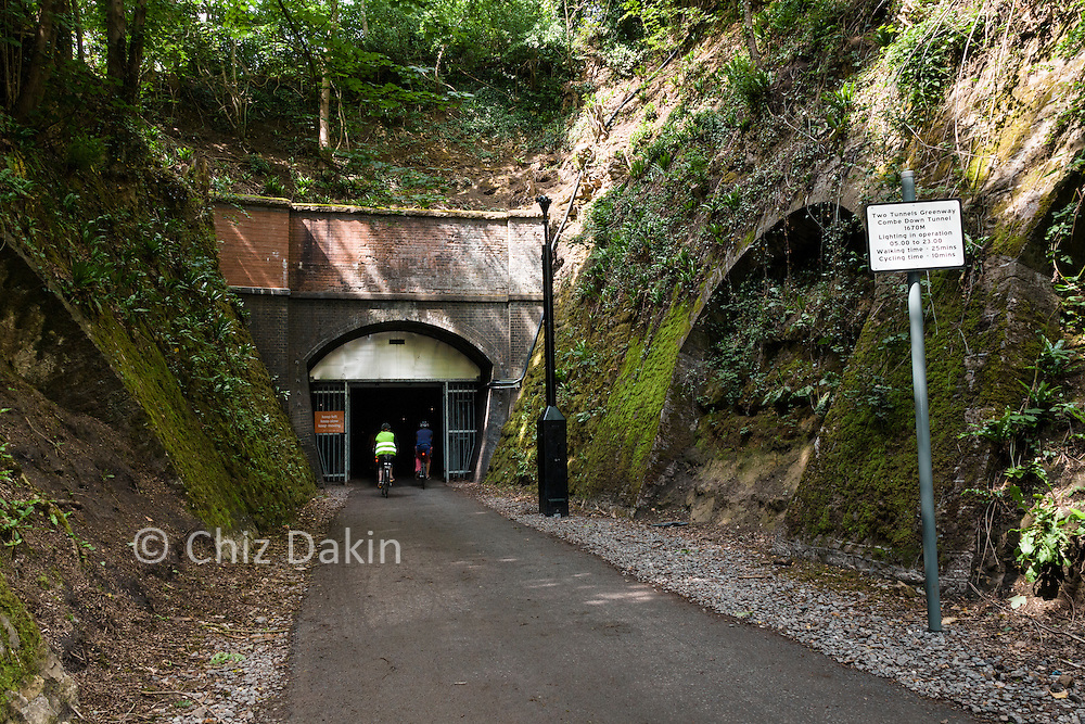 Entrance to the Combe Down tunnel. At 1672m long this is claimed (by Sustrans) to be the longest tunnel in Europe on a cycle route.