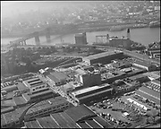 """Aerial of Triangle Mills. February 7, 1967"" (665 N. Tillamook St., Area around N. Tillamook street, N. Interstate, below school, near Crown Mills)"