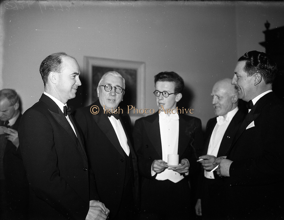 04/02/1953<br /> 02/04/1953<br /> 04 February 1953<br /> Cumann Gaelach Inaugural at UCD. (l-r)  Cearbhall O'Dalaigh, Attorney General; Councillor Bhalter Breathnach; Michael O'Riain; Dr Sean MacCanna and Con O'Liathain solicitor.