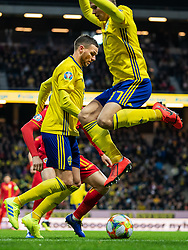 March 23, 2019 - Stockholm, SWEDEN - 190323 Marcus Berg and Viktor Claesson of Sweden during the UEFA Euro Qualifier football match between Sweden and Romania on March 23, 2019 in Stockholm..Photo: Joel Marklund / BILDBYRÃ…N / kod JM / 87914 (Credit Image: © Joel Marklund/Bildbyran via ZUMA Press)