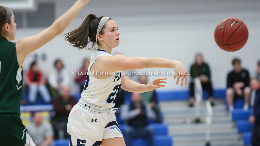 Franklin's Erin Quaile passes the ball during the Division 1 state semifinals against Minnechaug at Worcester State University on Mar. 10, 2020. The Panthers beat the Falcons, 55-43. [Daily News and Wicked Local Photo/Dan Holmes]