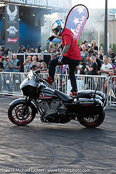 Cole Freeman of the Ill Conduct Stunt Team at the Harley-Davidson Museum, where the multi-acre campus acted as the central rally point during the Harley-Davidson 115th Anniversary Celebration event. Milwaukee, WI. USA. Saturday September 1, 2018. Photography ©2018 Michael Lichter.