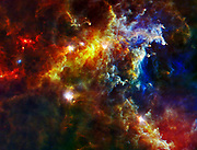 This image from the Herschel Space Observatory shows most the cloud associated with the Rosette nebula, a stellar nursery about 5,000 light-years from Earth in the Monoceros, or Unicorn, constellation.