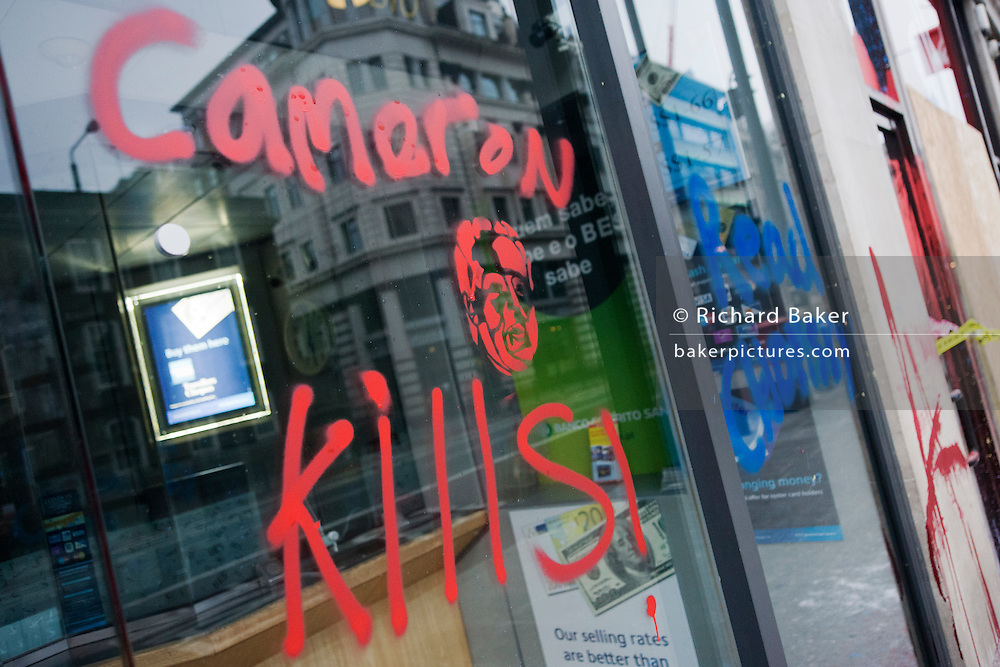 Vandalism by breakaway anarchists to property the morning after the TUC-organised anti-government march against cuts to Britain's economy.