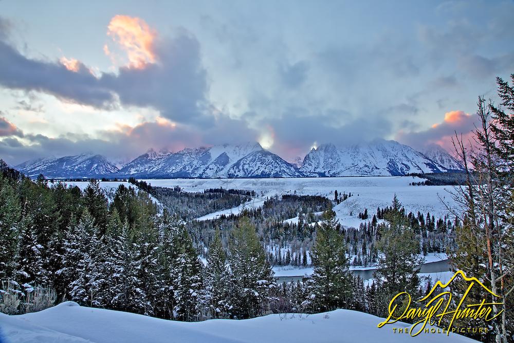 Winter sunrise, Snake River Overlook, Grand Tetons, Grand Teton National Park