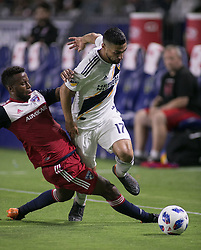May 30, 2018 - Carson, California, U.S - Sebastian Lletget #17 of the LA Galaxy gets past Maynor Figueroa #31 of FC Dallas on during their MLS game Wednesday, May 30, 2018 at the Stub Hub Center in Carson, California. LA Galaxy Lose to FC Dallas, 2-3 (Credit Image: © Prensa Internacional via ZUMA Wire)