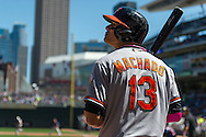 Manny Machado #13 of the Baltimore Orioles waits on-deck during a game against the Minnesota Twins on May 12, 2013 at Target Field in Minneapolis, Minnesota.  The Orioles defeated the Twins 6 to 0.  Photo: Ben Krause