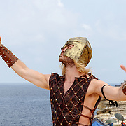 MLT/Malta/20150526 - Set bezoek Mega Mindy versus Rox , Jim Bakkum in de rol van Waterman