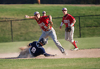 Andrew Salta of Laconia makes the out on Spencer Nast of White Mountain and throws to first for the double play during Friday afternoons varsity baseball.  (Karen Bobotas/for the Laconia Daily Sun)