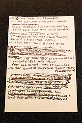 "© Licensed to London News Pictures. 22/05/2013. London, UK. The original lyrics to the Beatles song 'In My Life' written on notepaper are seen after being presented to the British Library by Beatles biographer Hunter Davies in London today (22/05/2013). The manuscript, along with others and correspondence between John Lennon and Mr Davies, have been donated to the library under the ""lifetime giving"" scheme. Photo credit: Matt Cetti-Roberts/LNPPhoto credit: Matt Cetti-Roberts/LNP"