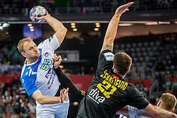 Ziga Mlakar of Slovenia during handball match between National teams of Slovenia and Montenegro on Day 5 in Preliminary Round of Men's EHF EURO 2018, on January 17, 2018 in Arena Zagreb, Zagreb, Croatia. Photo by Ziga Zupan / Sportida