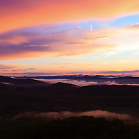 """""""Serenity of Maghreb""""<br /> <br /> Beautiful clouds and fog sweep across the top of the Blue Ridge Mountains of Virginia at sunset! The sky filled with lovely pastel hues!!<br /> <br /> The Blue Ridge Mountains by Rachel Cohen"""
