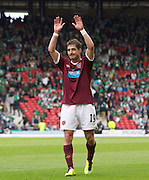 The William Hill Scottish FA Cup Final 2012 Hibernian Football Club v Heart Of Midlothian Football Club..19-05-12...Hearts Rudi Skacel salutes the fans after scoring goal number 5        during the William Hill Scottish FA Cup Final 2012 between (SPL) Scottish Premier League clubs Hibernian FC and Heart Of Midlothian FC. It's the first all Edinburgh Final since 1986 which Hearts won 3-1. Hearts bid to win the trophy since their last victory in 2006, and Hibs aim to win the Scottish Cup for the first time since 1902....At The Scottish National Stadium, Hampden Park, Glasgow...Picture Mark Davison/ ProLens PhotoAgency/ PLPA.Saturday 19th May 2012.