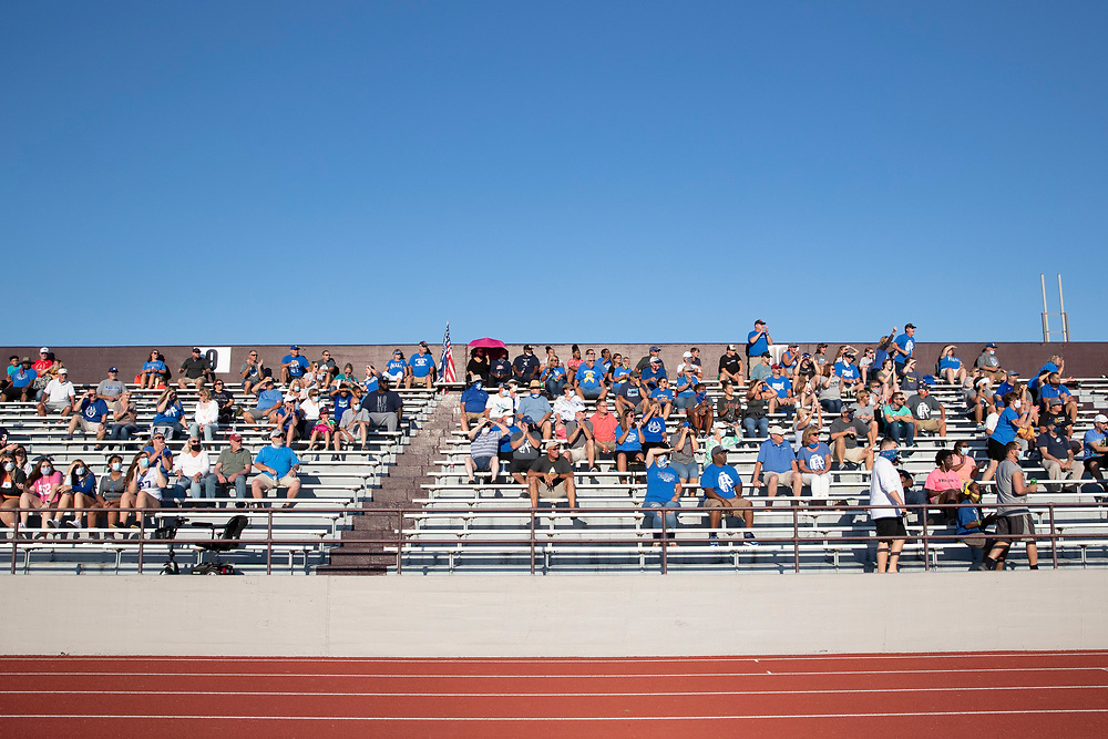 Marian fans in the stands during the Marian-Mishawaka high school football game on Friday, August 21, 2020, at Steele Stadium in Mishawaka, Indiana.