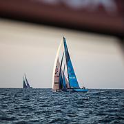 Leg 01, Alicante to Lisbon, day 01, Start on board MAPFRE. Vestas and Azkonobel from Mapfre. Photo by Ugo Fonolla/Volvo Ocean Race. 22 October, 2017