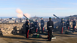 To commemorate the Queen's accession to the throne on 6th February 1952 a 21-Gun Royal Salute takes place at Edinburgh Castle. <br /> <br /> The Queen becomes the first British monarch to reach their Sapphire Jubilee.<br /> <br /> Prior to the Royal Salute a Guard Mounting takes place on the Castle Esplanade.