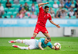 Clayton Failla of Malta vs Milivoje Novakovic of Slovenia during football match between National teams of Slovenia and Malta in Round #6 of FIFA World Cup Russia 2018 qualifications in Group F, on June 10, 2017 in SRC Stozice, Ljubljana, Slovenia. Photo by Vid Ponikvar / Sportida