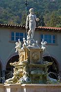 Classical greek statue of Poseidon on top of water fountain at Malaga Cove Plaza, Palos Verdes Peninsula, California