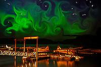 Playful coloration of northern lights over sea plane base in Kodiak, Alaska using Photoshop