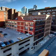 Views of downtown Kansas City from the former Folgers Coffee plant at 8th & Broadway - undergoing renovation to loft apartments by O'Reilly Development Company.