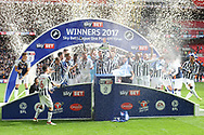 Millwall celebrate their promotion to the championship.  EFL Skybet football league one play off final match, Bradford city v Millwall at Wembley Stadium in London on Saturday 20th May 2017.<br /> pic by Steffan Bowen,  Andrew Orchard sports photography.