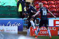 Jesse Lingard of Derby County (c) celebrates with his teammates after scoring his teams 3rd goal to make it 3-3.. Skybet football league championship match, Huddersfield Town v Derby county at the John Smith's stadium in Huddersfield, Yorkshire on Saturday 18th April 2015.<br /> pic by Chris Stading, Andrew Orchard sports photography.