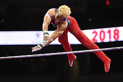 August 18, 2018 - Boston, Massachussetts, U.S - DONOTHAN BAILEY competes on the high bar during the final round of competition held at TD Garden in Boston, Massachusetts. (Credit Image: © Amy Sanderson via ZUMA Wire)