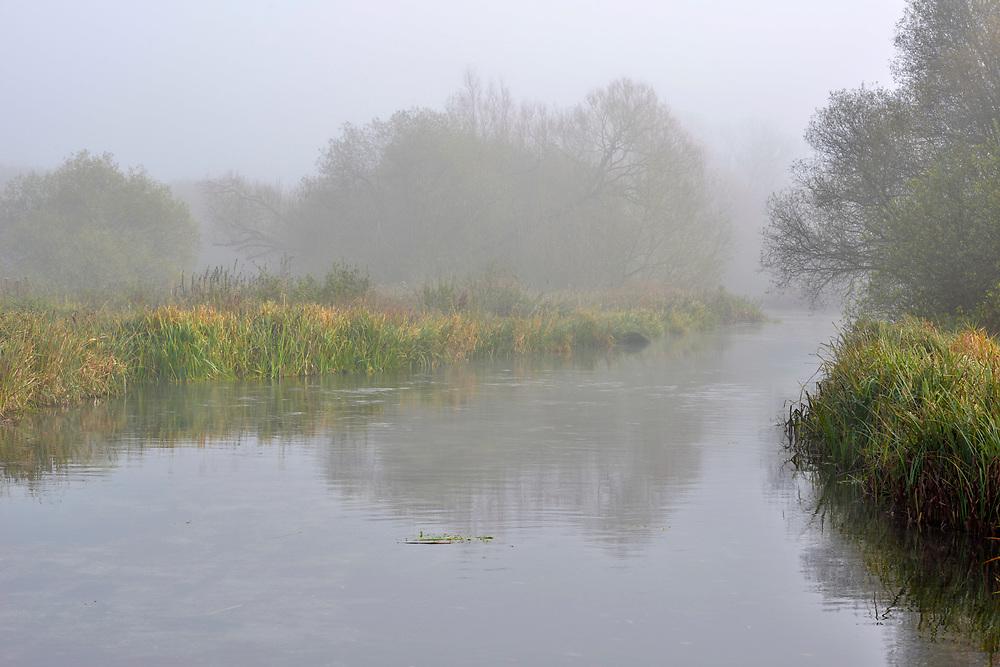 Autumn morning mist along the River Test at Longparish, Hampshire.